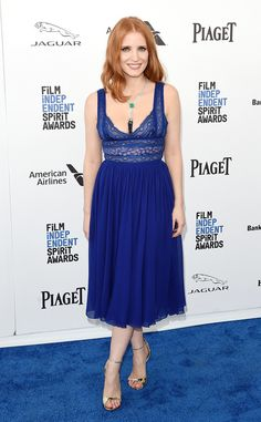 Jessica Chastain from Film Independent Spirit Awards 2016: Red Carpet Arrivals  Beauty in blue! The actress works her Elie Saab dress before presenting a major award.
