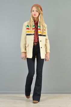 Hudson Bay Vtg 70s Wool Rainbow Colorblock Blanket Native Point Cape Coat Jacket | eBay - bustownmodern