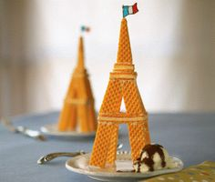 Excellent Eiffel tower Finn with wafers. birthday, kids crafts eiffel tower, eiffel tower crafts for kids, food crafts, paris theme, dessert ideas, cooki, paris party, themed parties