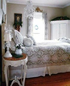 Shabby chic Elegance. I really like this look. What a beautiful bedroom for a B&B