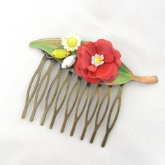 Vintage Bridal Hair Comb with red rose, daisy and yellow leaves - Collage Wedding Hair Piece