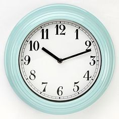 Paris 28cm Distressed Round Wall Clock Duck Egg Blue