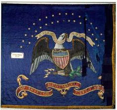 """This earlier Regimental Flag, No. 100, (shown above) is in extremely bad shape. This flag is believed to be part of a set of flags that were ordered in March of 1863 after the battle of Stones River. A sketch for the flag was made on Indiana Executive Dept. stationary (see copy of original below) for a Regimental Flag and a National Flag. It is dated March 12, 1863. For the Regimental Flag, listed as the """"Blue flag"""" it shows a banner with"""" 31st Regt. Indiana Vols."""