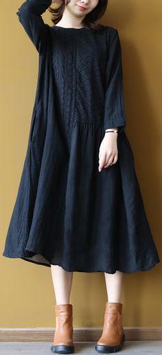 f6f7b84f67bb black linen dress plus size o neck cotton maxi dress Elegant hollow out  caftans Big Dresses