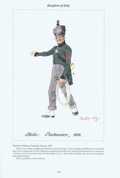Kingdom of Italy: Plate 24: Artillery, Pontonier Private, 1812