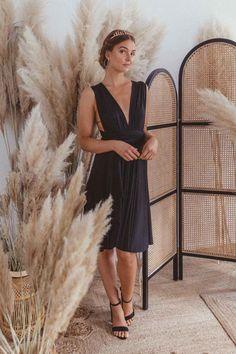 Midi Dress Black — We Are Flowergirls Drapery Wedding, Ibiza Wedding, Convertible Dress, Silhouette, Black Midi Dress, Jumpsuit Dress, Slow Fashion, Wedding Season, Perfect Fit