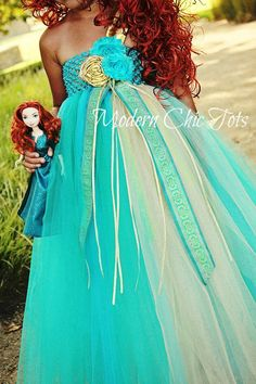 Merida/Brave Themed Tutu Dress Halloween Costume by ModernChicTots, $75.00