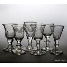 Heading : Six 18th and 19th century port and gin glasses Date : c1750-1840 Period : George II to Queen Victoria Origin : England and Europe Colour : Clear Bowl : Various Stem : Various Foot : Conical Pontil : Polished and snapped Glass Type : Lead and Soda Size : Tallest is 10.8cm  Condition : No chips or cracks, a few air bubbles to the bowls Restoration : None Weight : 558 grams Port Wine Glasses, Gin Glasses, French Wine, Mason Jar Wine Glass, Queen Victoria, 19th Century, Soda, Bowls, Period