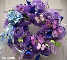 Spring Butterfly Purple Deco Mesh Wreath  Item by KippsKorner
