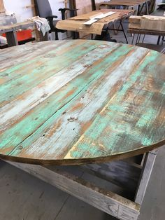Reclaimed wood round dining table,ROUND table top,Add your base
