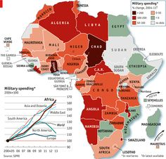 Military spending in Africa, by the Economist #map #africa