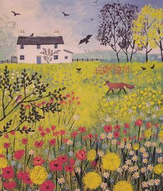 Canvas print of English flower meadow with white cottage and fox from an original acrylic painting 'Through the Flower Meadow by Jo Grundy - Mirror Ideas Illustration Noel, Illustrations, Garden Illustration, Landscape Art, Landscape Paintings, Landscapes, Painting Inspiration, Art Inspo, Naive Art