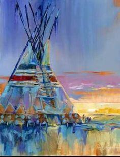 "Carol Hagan ""Milky Blue Rain Cloud"" Print Giclee Teepee Painting, Native American, Rain n thunder Native American Decor, Native American Paintings, Indian Art Paintings, American Indian Art, American Indians, Cherokee Indian Art, American History, Native American Horses, American Symbols"