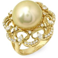 Golden South Sea Diamond & Pearl Barbara Ring (4,465 CAD) ❤ liked on Polyvore featuring jewelry, rings, golden, pearl diamond jewelry, pearl jewellery, 18 karat gold ring, pearl jewelry and golden jewelry
