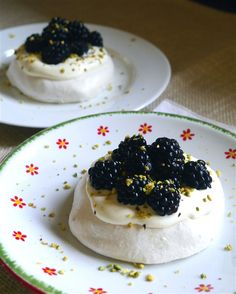Mini Blackberry and Pistachio Pavlova