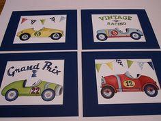 Vintage race car nursery kids wall art for little racer boy ...matted navy 11x14
