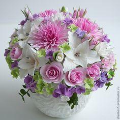 """Купить Цветочная композиция """"Утро"""" - розовый, ваза, букет, хризантема, роза, лилия, гостиная, спальня"""