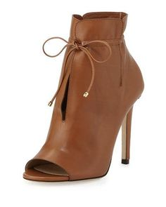 X34RK Jimmy Choo Memphis Tie-Front 100mm Bootie, Canyon