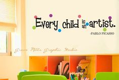 Every Child Is An Artist Wall Decal  Art by GroveMillsGraphics, $28.00