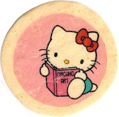 """Chican@ Art History  Rio Yanez. """"Hello Kitty Learns about Chicano Art."""" Tortilla Art. Featured in The Great Tortilla Conspiracy Presents: Tortillas with Ideas. November 23, 2007 at the de Young Museum."""