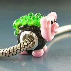 Witch's Pot Bellied Pig Handmade Lampwork Glass Universal by Gelly, $30.00