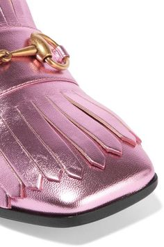 Gucci - Horsebit-detailed Fringed Metallic Leather Pumps - Pink - IT36.5