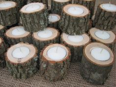 Rustic Wedding Decor Logs Tealights 7 Hour Candles