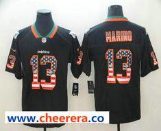 3d12b163716 Men's Miami Dolphins #13 Dan Marino 2018 USA Flag Fashion Black Color Rush  Stitched Nike Limited Jersey