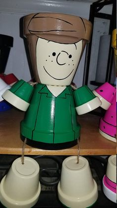 Hand painted Charlie Brown (Peanuts) Pot Head. When purchasing, please specify which character you would like. If there are other peanut characters you would like that you dont see, email me. I will most likely be able to make your character. These products are hand painted clay pots,