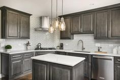 Stained Kitchen Cabinets, Clean Kitchen Cabinets, Kitchen Cabinet Styles, Granite Kitchen, Grey Cabinets, Unfinished Cabinets, Staining Cabinets, Kitchen Remodel, Modern