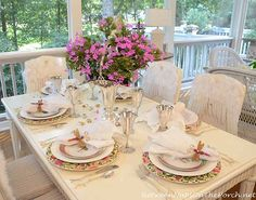 Birthday Party, Mother's Day or Bridal Shower Table Setting Tablescape. I love the basket and flowers centerpiece