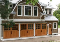 Carriage House.....how beautiful is this???  Room for a studio upstairs.... Garage Apartment Plans, Garage Apartments, Garage Plans, Garage House, Garage Loft, House Doors, Dream Garage, Garage Shop, Carriage House Plans