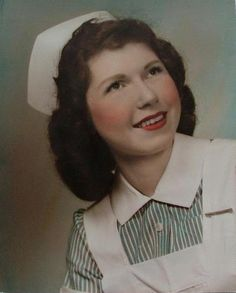 Such a charmingly sweet hand tinted vintage photo of a young nursing school graduate (named Mary Ann) from 1953. #portrait #nurse #vintage #hospital #1950s #fifties