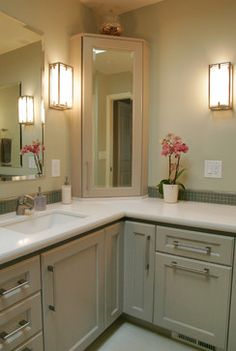 L Shaped Vanity Design Ideas, Pictures, Remodel and Decor