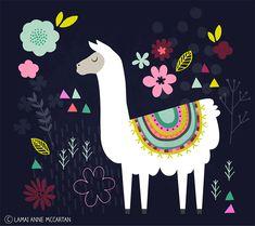 Llama Folk Art Illustration by Lamai Anne McCartan Alpacas, Images Lama, Lama Animal, Llama Face, Llama Llama, Llama Pictures, Llama Arts, Art Mignon, Llama Print