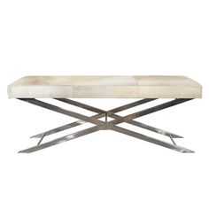 """Modernist Long Pony and Chrome Bench with """"X"""" Design Base"""
