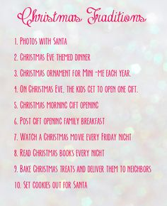 Christmas Traditions list... Gonna do some of these when I get my own family!