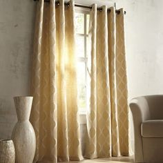 Moorish Tile Slate Grommet Curtain