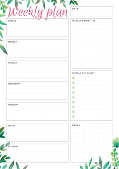 This simple but beautiful weekly planner template is a good choise if you like botanical design. Sections available in this template: 7 Daily sections, Date Weekly priorities, Weekly checklist, Notes Diy Planner Printables, Weekly Planner Template, Free Printables, Schedule Templates, Student Planner Printable, Schedule Design, Schedule Printable, Monthly Planner Printable, Printable Calendars