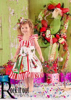Girls How The Grinch stole Christmas Ruffled Book Dress