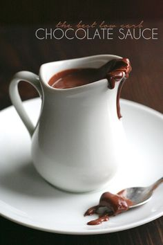 The best Sugar-Free Hot Fudge Sauce - creamy, rich and chocolatey, you will want to eat it with a spoon. And it's healthy!