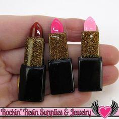 6 pc Gold Glitter LIPSTICK Flatback Resin Decoden Kawaii Cabochons