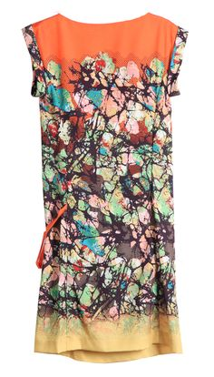 Cowl Neck Tie Side Abstract Print Dress - so pretty