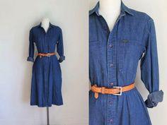 vintage denim shirt dress - RALPH LAUREN soft cotton jean dress / M by MsTips on Etsy https://www.etsy.com/listing/294984431/vintage-denim-shirt-dress-ralph-lauren