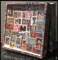 Purple Postage Stamp Decoupage Box -- stampcoupage