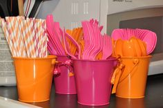 pink orange party decorations - Google Search