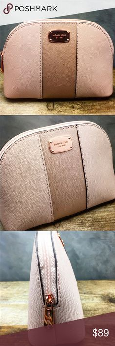 """Michael Kors cosmetic bag in blush This one is abselutly stunning bag in blush by Michael Kors. Features saffiano leather with sleek rose gold hardware signature tag and zip. Inside signature fabric mining and a slip pocket. H5""""x L7""""xW2.5"""". New with tag. 100% authentic. Michael Kors Bags Cosmetic Bags & Cases"""