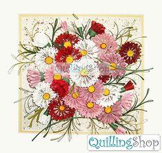 Quillingshop: Картина Нарядный букет в технике квиллинг, компания QuillingShop. При создании этой картины использовалась бумага для квиллинга в полосках