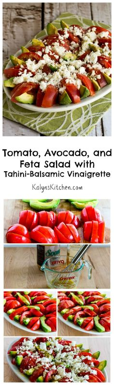 This Tomato, Avocado, and Feta Salad with Tahini-Balsamic Vinaigrette is super easy to make, and this salad is really a wow! [from KalynsKitchen.com] #MeatlessMonday #LowCarb #GlutenFree