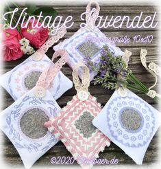 Der Stickbär | Vintage Lavendel | Stickmuster mit Herz